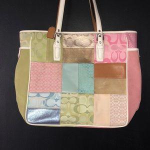 Pastel Coach large tote bag